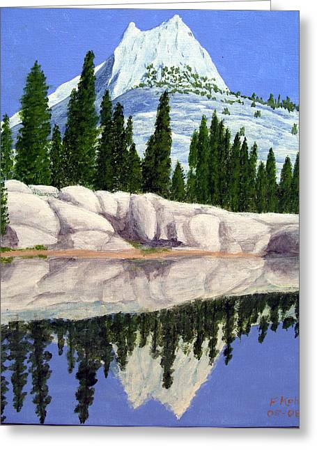 Greeting Card featuring the painting Cathedral Peak by Frederic Kohli