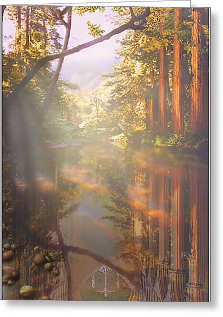 Greeting Card featuring the painting Cathedral Redwoods by Robby Donaghey