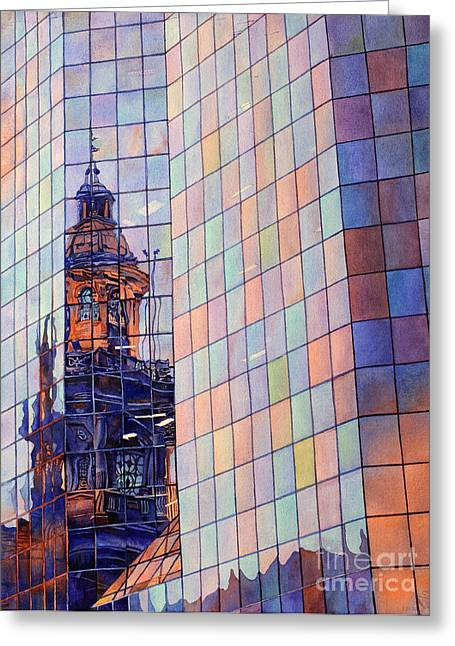 Cathedral Reflection Santiago Greeting Card by Ryan Fox