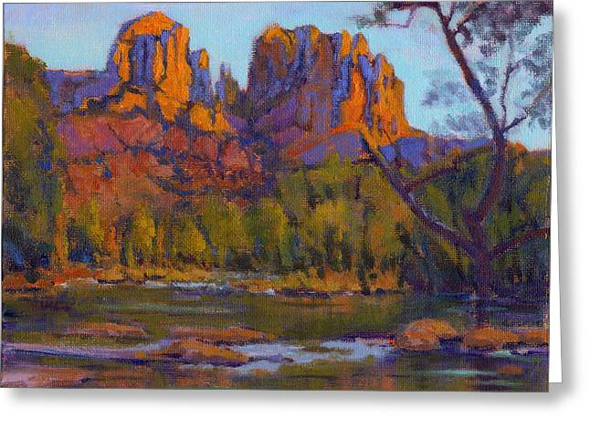 Greeting Card featuring the painting Cathedral Rock 2 - Study by Konnie Kim