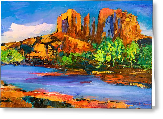 Greeting Card featuring the painting Cathedral Rock Afternoon by Elise Palmigiani