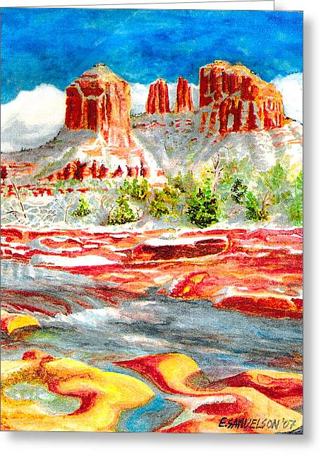 Cathedral Rock Crossing Greeting Card by Eric Samuelson