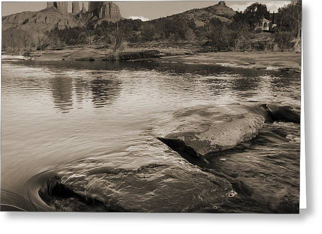 Cathedral Rock Flow Greeting Card by Bob Coates