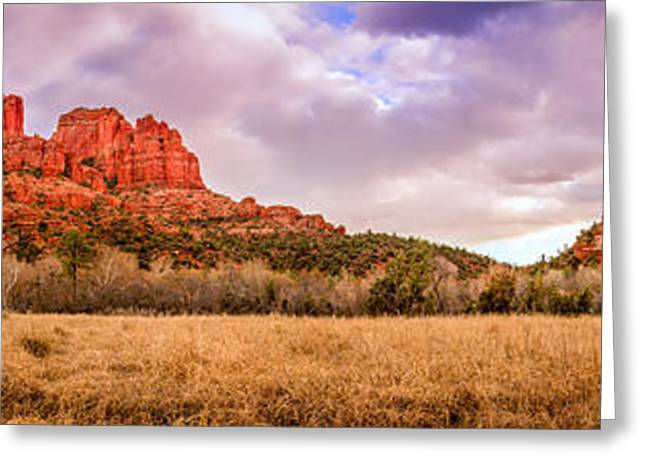Cathedral Rock Panorama Greeting Card by Alexey Stiop