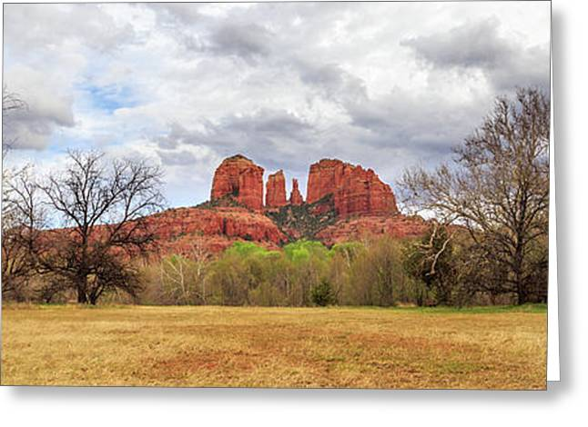 Greeting Card featuring the photograph Cathedral Rock Panorama by James Eddy