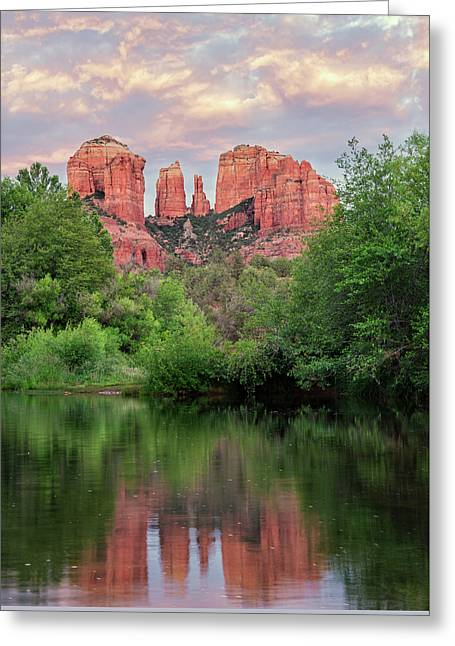 Cathedral Rock Reflected In Oak Creek Greeting Card by Loree Johnson