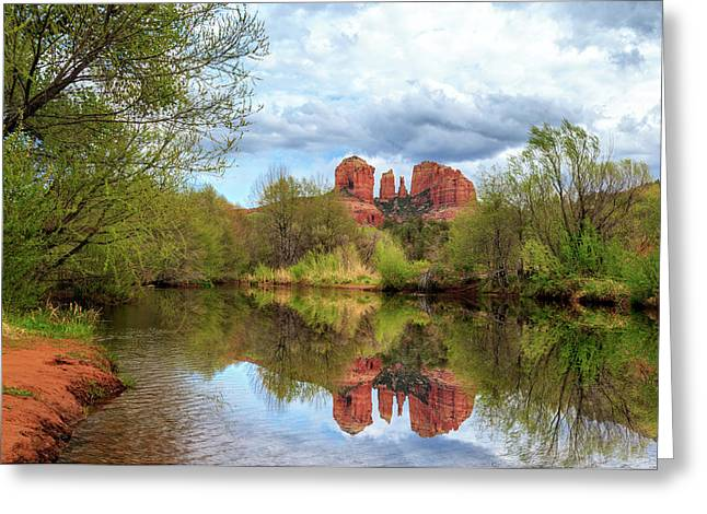 Cathedral Rock Reflection Greeting Card by James Eddy
