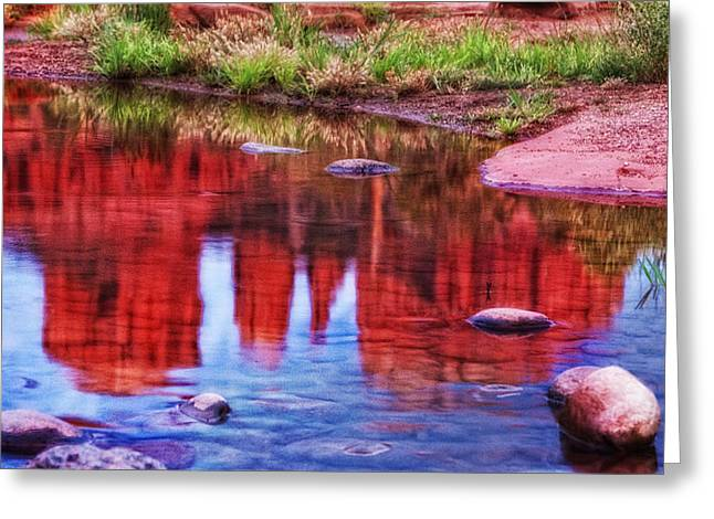 Cathedral Rock Reflection Painterly Greeting Card by Bob Coates