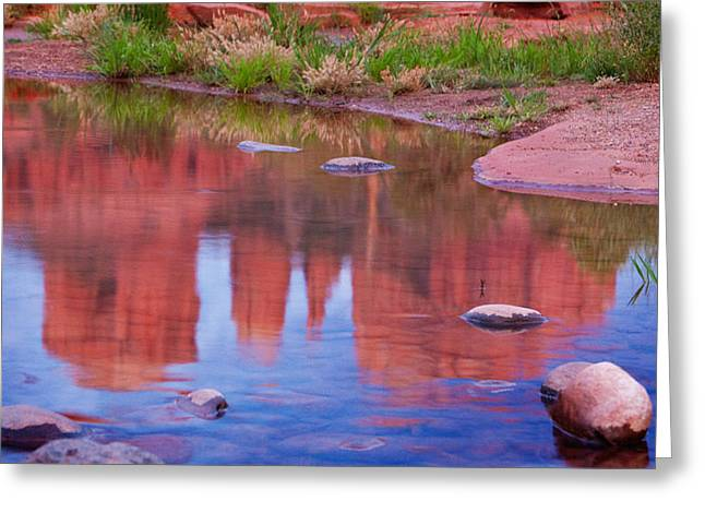 Cathedral Rock Reflection Pastel Greeting Card by Bob Coates