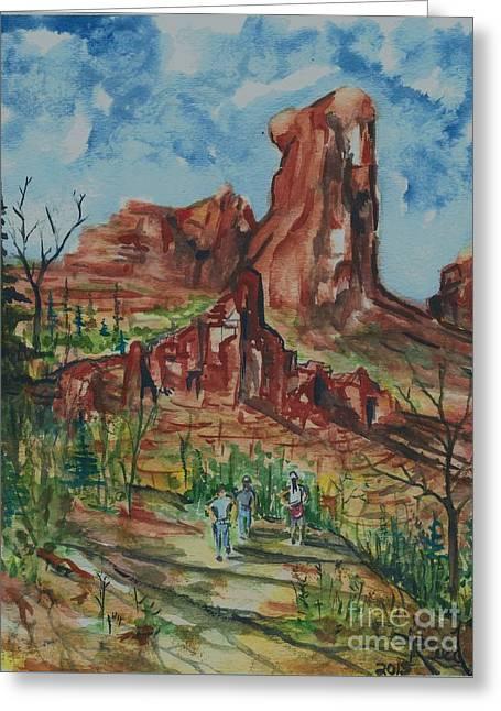 Hiking Cathedral Rock,  Sedona, Az. Greeting Card