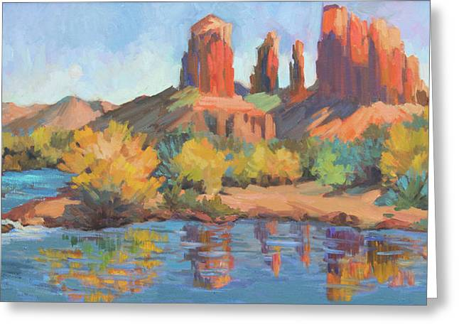 Moonrise Cathedral Rock Sedona Greeting Card by Diane McClary