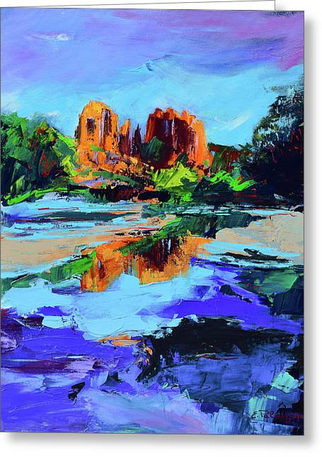 Greeting Card featuring the painting Cathedral Rock - Sedona by Elise Palmigiani