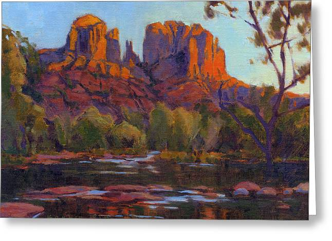Greeting Card featuring the painting Cathedral Rock by Konnie Kim