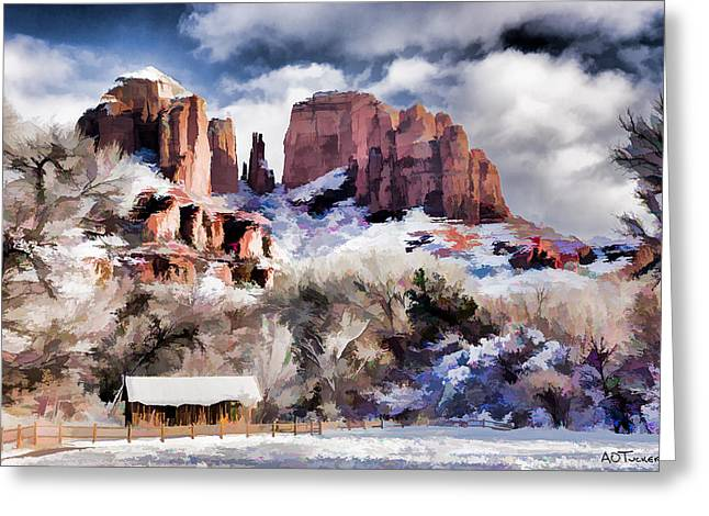 Cathedral Rock White Blanket - Digital Art Greeting Card