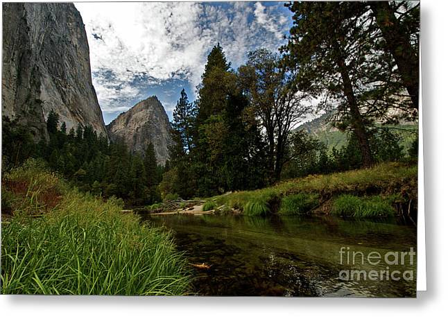 Cathedral Rocks Along The Merced Greeting Card by Chris Brewington Photography LLC