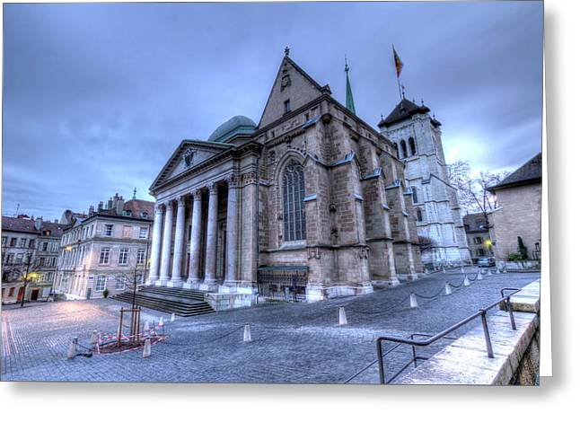 Cathedral Saint-pierre, Peter, In The Old City, Geneva, Switzerland, Hdr Greeting Card