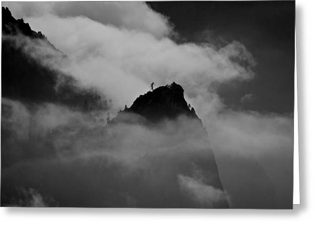 Cathedral Spire In Mist Greeting Card