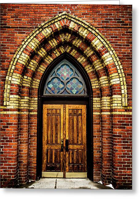 Cathedral Tower Door Greeting Card by Onyonet  Photo Studios