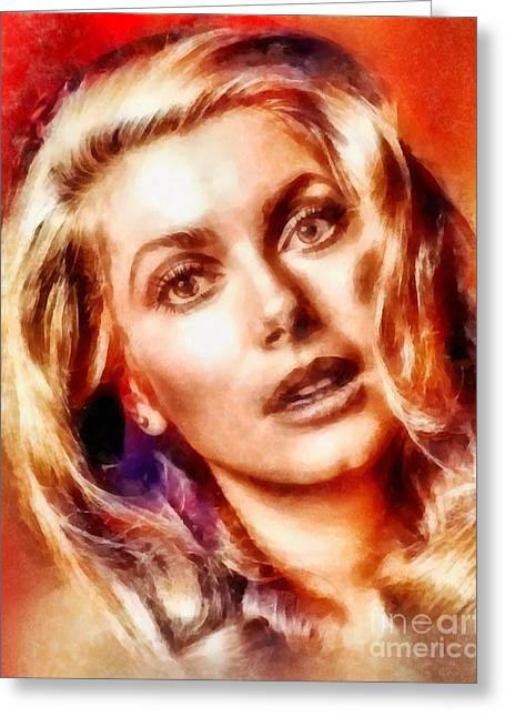 Catherine Denueve, Vintage Hollywood Actress Greeting Card by Frank Falcon