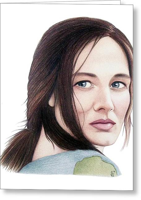 Greeting Card featuring the drawing Catherine Mccormack  by Danielle R T Haney