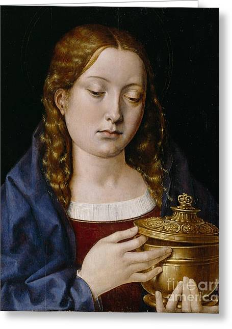 Catherine Of Aragon As The Magdalene Greeting Card by Michiel Sittow