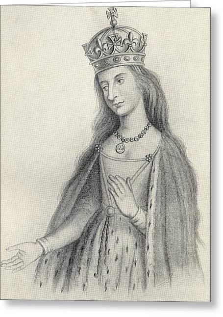 Catherine Of Valois 1401 To 1437. Queen Greeting Card by Vintage Design Pics