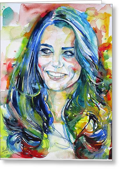 Catherine,duchess Of Cambridge - Watercolor Portrait.4 Greeting Card