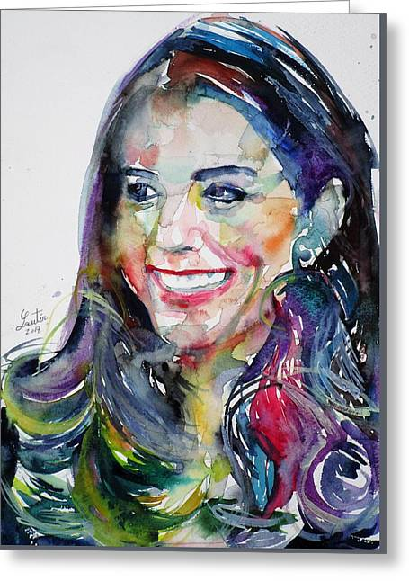 Catherine,duchess Of Cambridge - Watercolor Portrait.5 Greeting Card