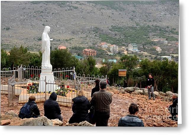 Catholic Pilgrim Worshipers Pray To Virgin Mary Medjugorje Bosnia Herzegovina Greeting Card