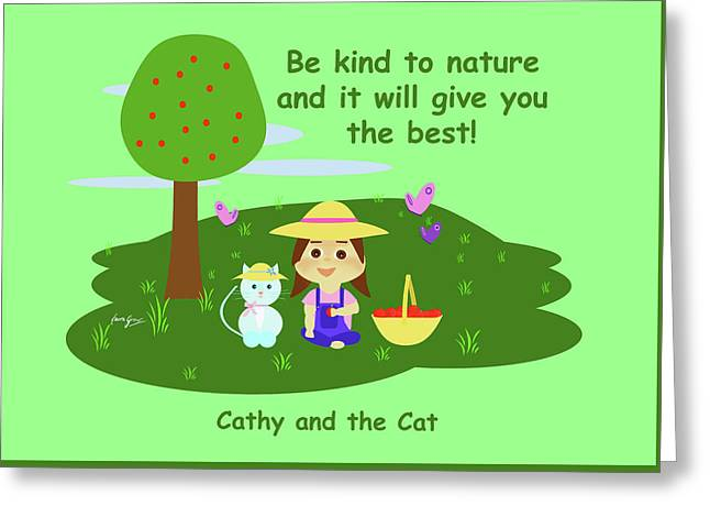 Cathy And The Cat Are Kind To Nature Greeting Card by Laura Greco