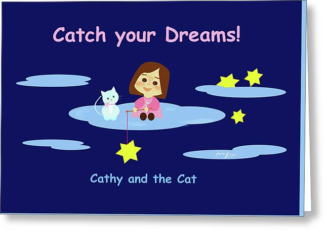 Cathy And The Cat Catch Your Dreams Greeting Card by Laura Greco