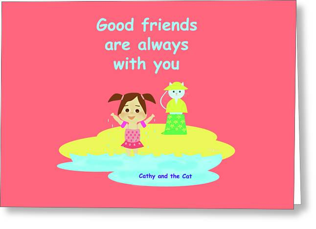 Cathy And The Cat Friends Are With You Greeting Card by Laura Greco