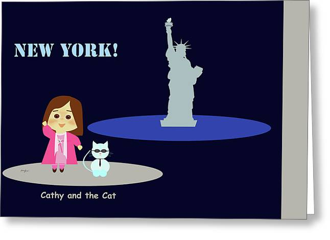 Cathy And The Cat In New York Greeting Card by Laura Greco