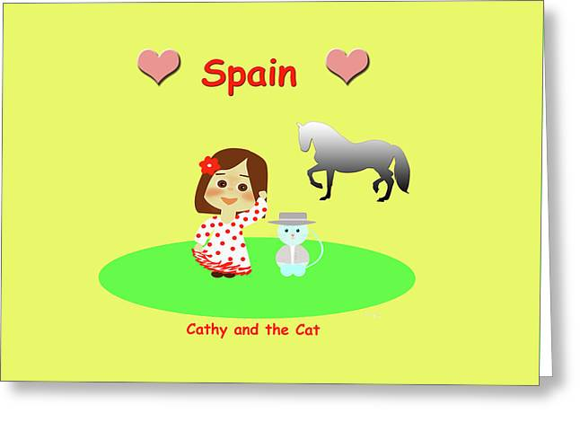 Cathy And The Cat In Spain Greeting Card by Laura Greco