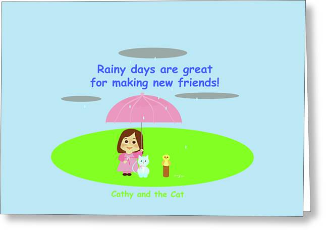 Cathy And The Cat Rainy Days And Friends Greeting Card by Laura Greco
