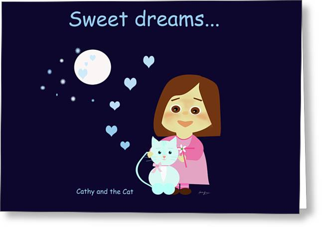 Cathy And The Cat Sweet Dreams Greeting Card
