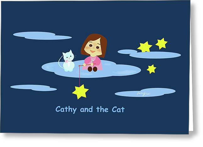 Cathy And The Cat With Stars Greeting Card by Laura Greco