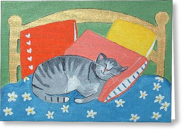 Catnap Greeting Card by Christine Quimby