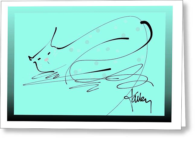 Greeting Card featuring the mixed media Catnap In Blue by Larry Talley