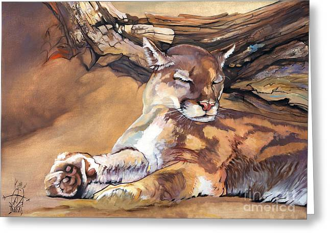 Catnap Greeting Card by J W Baker