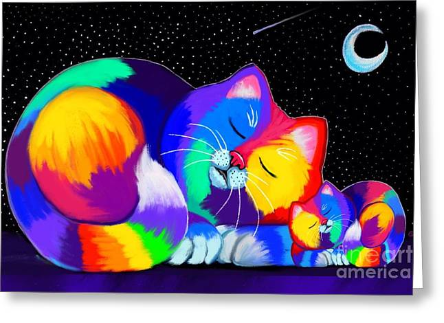 Greeting Card featuring the drawing Catnaps For Two by Nick Gustafson