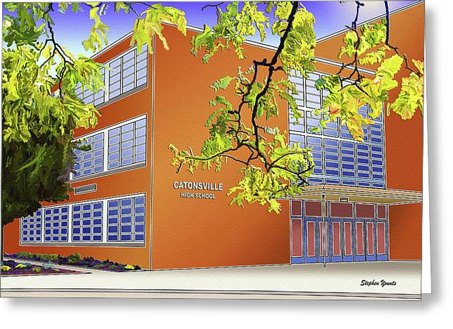 Catonsville Greeting Cards - Catonsville Senior High School Greeting Card by Stephen Younts