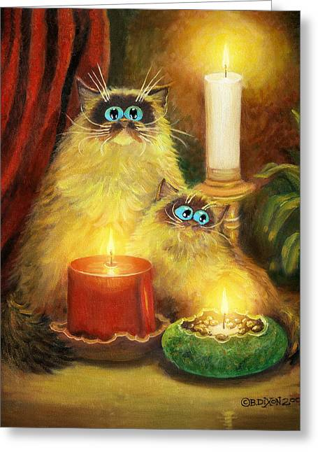 Cats And Candles No. 1 Greeting Card by Baron Dixon