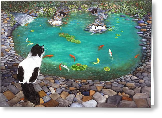 Cats And Koi Greeting Card