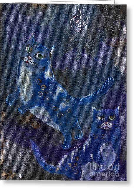 Cats And Reiki Greeting Card by Angel  Tarantella