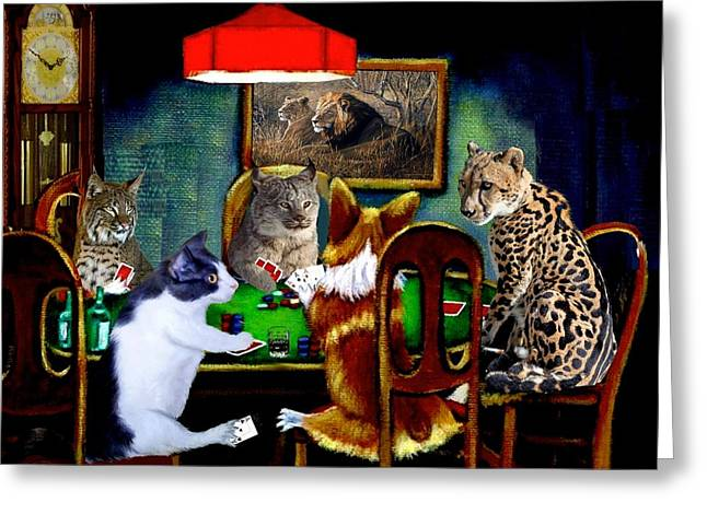 Cats Are Wild Poker Greeting Card by Ron Chambers