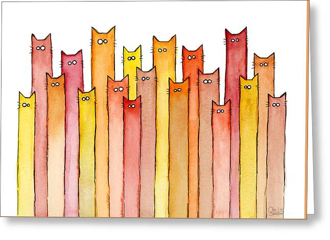 Cats Autumn Colors Greeting Card by Olga Shvartsur