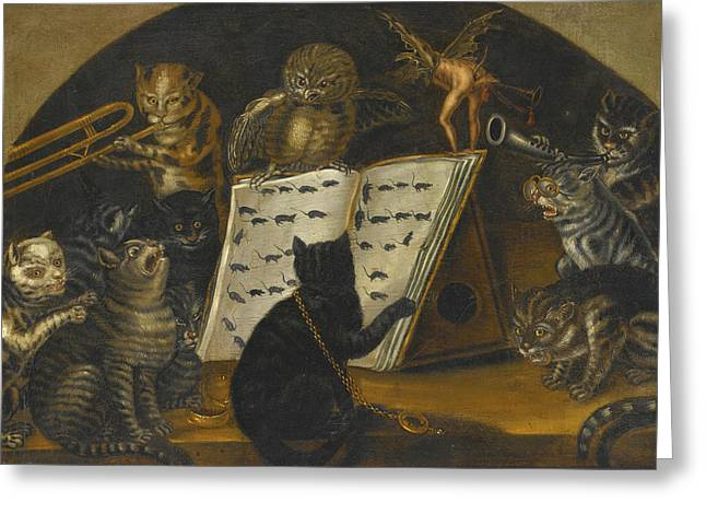 Cats Being Instructed In The Art Of Mouse-catching By An Owl Greeting Card