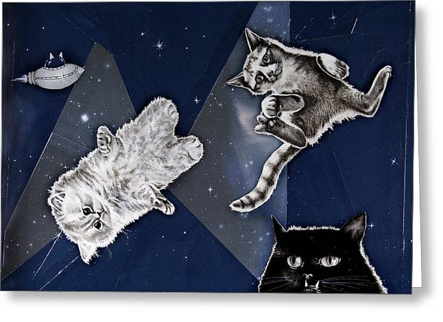 Cats In Space Greeting Card by Mary Williams