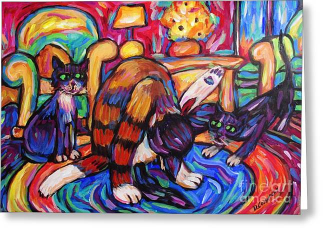 Greeting Card featuring the painting Cats In The Lounge by Dianne  Connolly